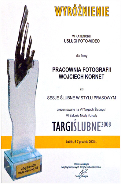 , Targi ślubne – wyróżnienie w kategorii foto-video :), Fotografia Ślubna Lublin Wojtek Kornet